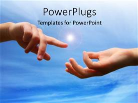 PowerPlugs: PowerPoint template with hands reaching out to each other with lens flare and sky
