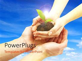 PowerPlugs: PowerPoint template with hands from sky dropping plant sprouting from earth on man's hand