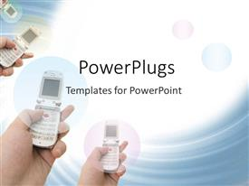 PowerPlugs: PowerPoint template with hands using flip cell phones, communications, technology