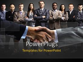 PowerPlugs: PowerPoint template with handshake of men with business team folding hands across chest
