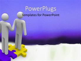 PowerPlugs: PowerPoint template with handshake between two 3D men standing on jigsaw puzzle