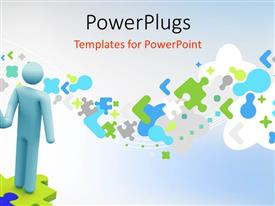 PowerPlugs: PowerPoint template with handshake of two 3D men standing on puzzle over abstract background