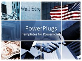 PowerPlugs: PowerPoint template with handshake in background with collage relating to stock market
