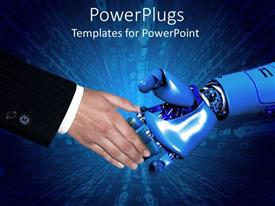 PowerPoint template displaying handshake between business man in black suit and robotic arm with blue background