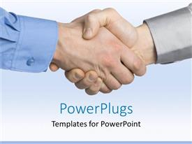PowerPlugs: PowerPoint template with handshake between men showing reached business agreement