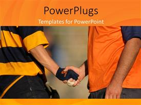 PowerPlugs: PowerPoint template with handshake between rugby player and coach after rmatch