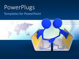 PowerPoint template displaying handshake between two 3D men emerging from laptop screens