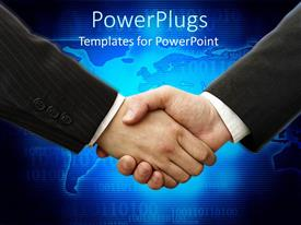 PowerPlugs: PowerPoint template with handshake between two business men over blue world map