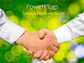 PowerPlugs: PowerPoint template with handshake between two men over colorful field with yellow and green flowers