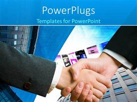 PowerPoint template displaying handshake between two professionals with office buildings in background