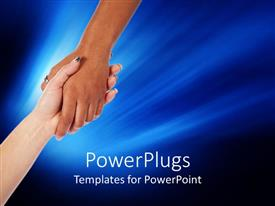 PowerPlugs: PowerPoint template with a handshake with bluish background and place for text