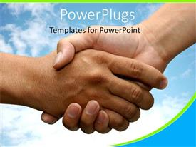 PowerPlugs: PowerPoint template with a handshake with clouds in the background