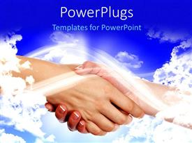 PowerPlugs: PowerPoint template with a handshake with clouds in the background and place for text