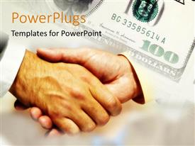 PowerPlugs: PowerPoint template with a handshake with a currency note in the background