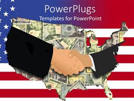 PowerPoint template displaying a handshake and the map of America in the background