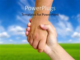 PowerPlugs: PowerPoint template with a handshake with a number of clouds in the background