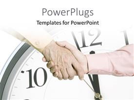 PowerPlugs: PowerPoint template with handshake over close-up of wall clock in background