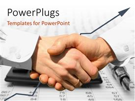 PowerPlugs: PowerPoint template with handshake over paper and pen with blurry computer and numerical table