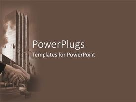PowerPoint template displaying handshake seals business deal in front of highrise