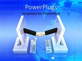 PowerPlugs: PowerPoint template with handshake of two hands emerging from computer screen with globe in background