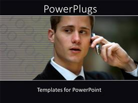 PowerPoint template displaying handsome adult man corporately dressed receiving a phone call