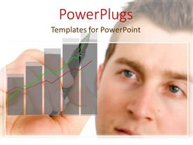 PowerPlugs: PowerPoint template with a handsome man holding a pen and drawing a bar chart
