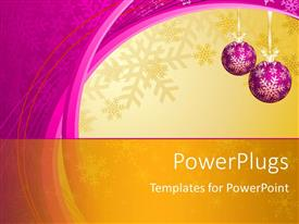 PowerPoint template displaying hanging purple decorative ornaments with snowflakes in winter