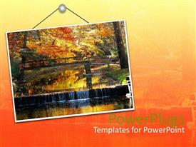 PowerPlugs: PowerPoint template with hanging sign with bridge and trees in autumn