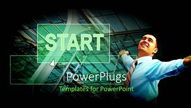 PowerPlugs: PowerPoint template with person who is happy with a building in the background