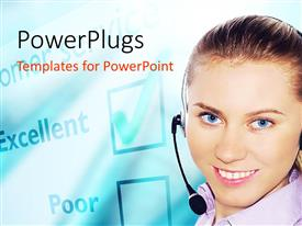 PowerPlugs: PowerPoint template with a beautiful girl with a bluish background