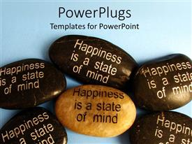 PowerPoint template displaying happiness is a state of mind written on stones, five dark brown stones and one cream stone with positive motivational saying about happiness