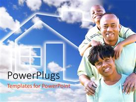 PowerPlugs: PowerPoint template with happy Afro-American family and house symbol with sky