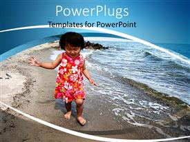 PowerPoint template displaying happy Asian child walking barefoot on beach