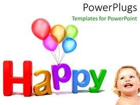 PowerPlugs: PowerPoint template with a happy baby with a lot of balloons and white background