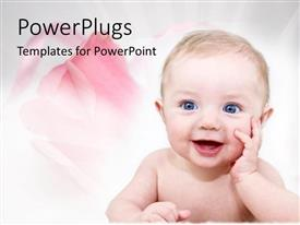PowerPlugs: PowerPoint template with happy baby with pink roses for family on white background
