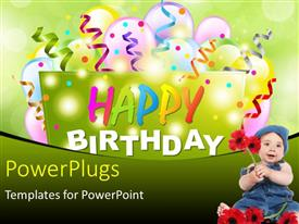 PowerPlugs: PowerPoint template with happy birthday background with multi color balloons and kid with red flowers in foreground
