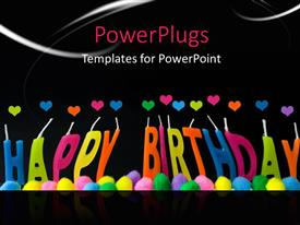 PowerPlugs: PowerPoint template with a happy birthday with a blackish background