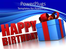 PowerPlugs: PowerPoint template with happy birthday sign next to blue wrapped gift box