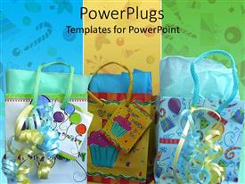PowerPlugs: PowerPoint template with happy birthday theme with gift bags and ribbons