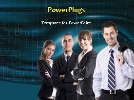 PowerPlugs: PowerPoint template with happy business team over animated digital background