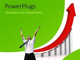 PowerPlugs: PowerPoint template with happy businessman with red arrow over increasing growth chart