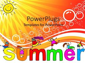 PowerPlugs: PowerPoint template with happy children jumping on letters on a sunny day