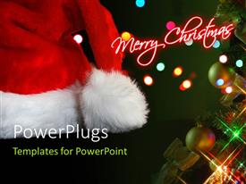PowerPlugs: PowerPoint template with the happy Christmas celebrations with lights in the background