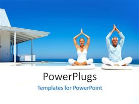PowerPlugs: PowerPoint template with happy couple on the beach practicing yoga with a cottage