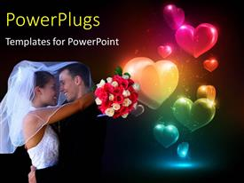 PowerPlugs: PowerPoint template with happy couple with flower bouquet hugging with glowing colorful heart shapes