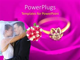 PowerPlugs: PowerPoint template with happy couple hugging with bride holding bouquet and gold ring