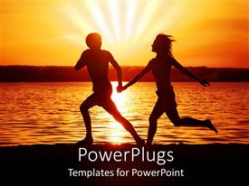 PowerPlugs: PowerPoint template with happy couple running with hands held together on beach with sunset