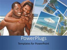 PowerPlugs: PowerPoint template with a happy couple smiling and playing together at the beach
