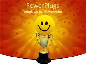 PowerPlugs: PowerPoint template with happy face atop gold trophy on orange background