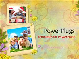 PowerPoint template displaying happy family celebrating christmas